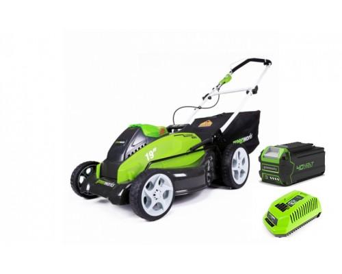 Газонокосилка аккумуляторная Greenworks G40LM45K4 40 В G-MAX (в комплекте АКБ + Зарядное устройство)
