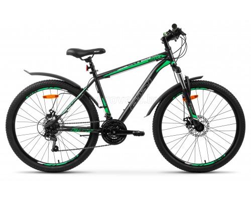 "Велосипед Aist Quest Disc 26"" (серый/зелёный, 2021)"